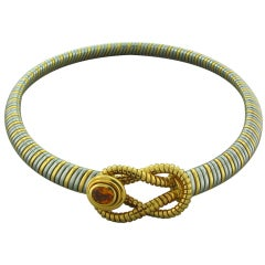 CARTIER Gold Steel Hercules Knot Citrine Necklace