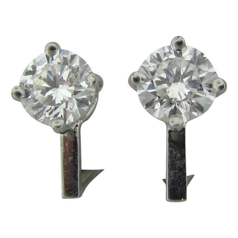 TIFFANY & CO  2.44ctw F VVS2 Diamond Stud Earrings 1