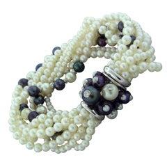 TRIANON Gold Multi Strand Pearl Diamond Bracelet