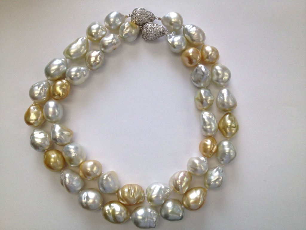 south sea baroque pearl 8 50ctw necklace at 1stdibs