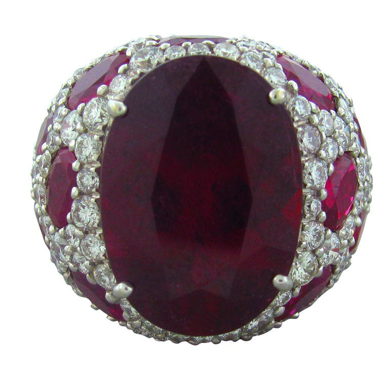 ASPREY Jubilee White Gold Rubellite Diamond Ring 1