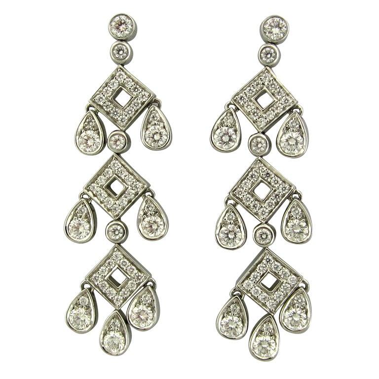 Tiffany Co Legacy Platinum Diamond Pagoda Earrings