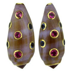 TRIANON Gold Seashell Pink Tourmaline Iolite Earrings