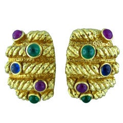 David Webb Emerald Sapphire Ruby Gold Earrings