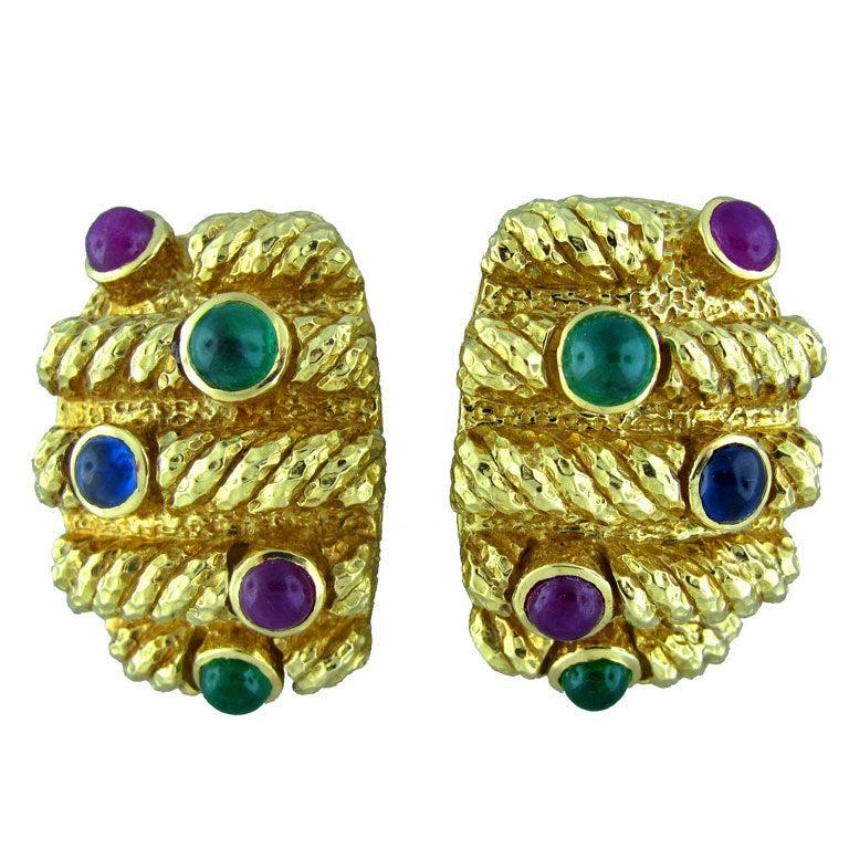 David Webb Emerald Sapphire Ruby Gold Earrings