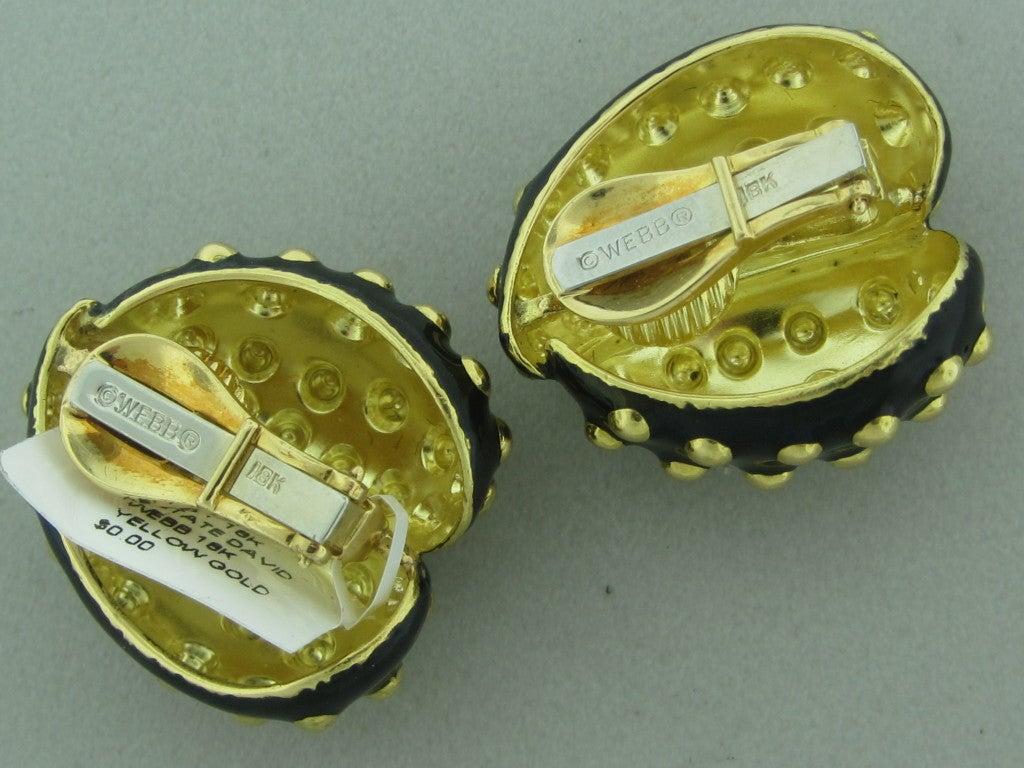 DAVID WEBB Gold Black Enamel Earrings 2