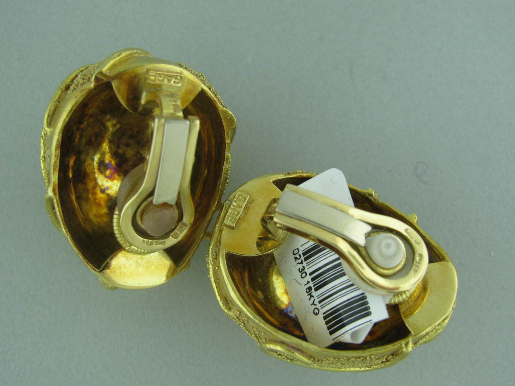 Metal: 18k Yellow Gold Marked/Tested: Gage, 750, English Hallmarks Gemstones/Diamonds: None Clarity: N/A Color: N/A Measurements: Earrings 29mm X 24mm (Inch = 25mm) Weight: 47.2g