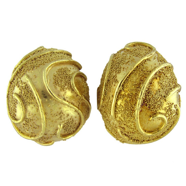 Elizabeth Gage Gold Earrings For Sale