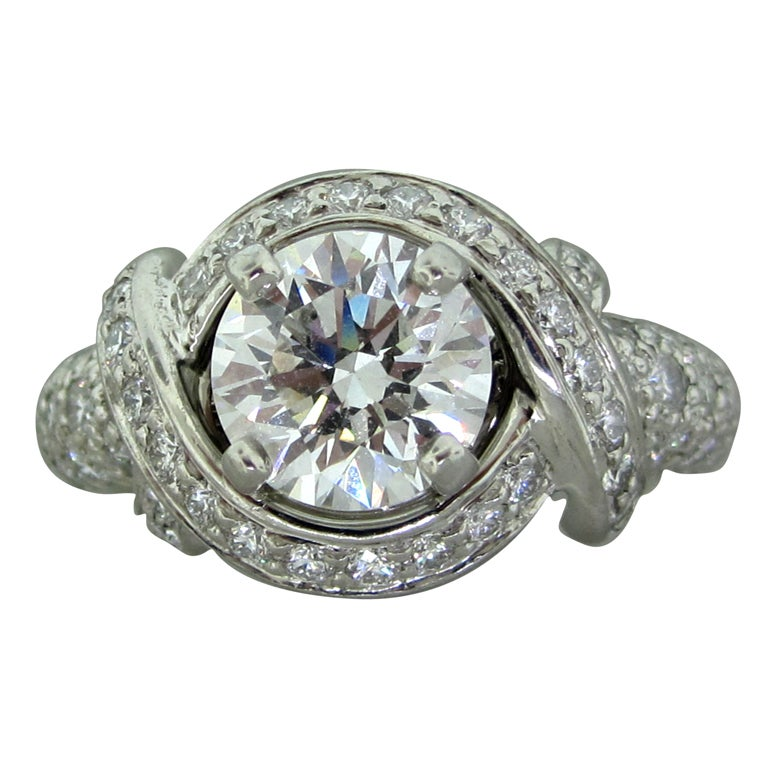 TIFFANY and Co Schlumberger 1 51ct Diamond Engagement Ring at 1stdibs