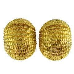 DAVID WEBB Armadillo Textured Finish Yellow Gold Earrings