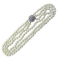 Gold Diamond Three Strand Pearl Necklace