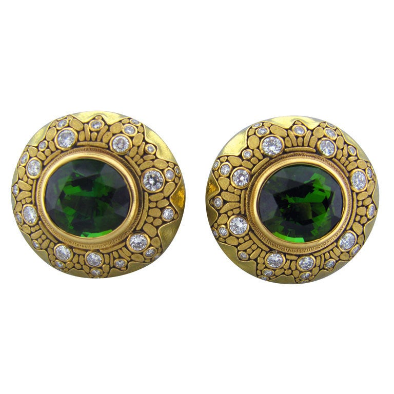 ALEX SEPKUS Important Green Tourmaline Gold Earrings