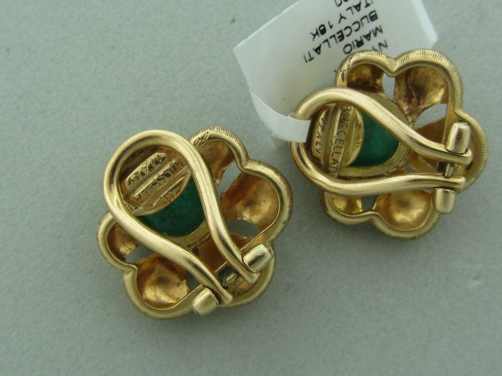 MARIO BUCCELLATI Italy  Gold Emerald Earrings image 2