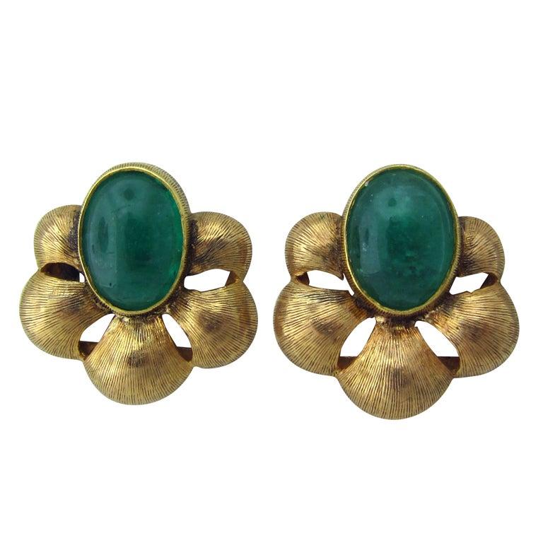 MARIO BUCCELLATI Italy  Gold Emerald Earrings