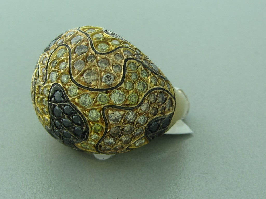 roberto coin gold multi color camouflage ring at
