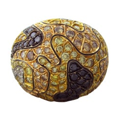 ROBERTO COIN Gold Multi Color Diamond Camouflage Ring