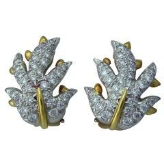 TIFFANY & CO SCHLUMBERGER Gold Platinum Diamond Earrings