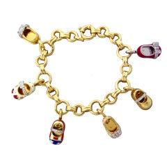 AARON BASHA Gold Diamond Enamel Baby Shoe Charm Bracelet