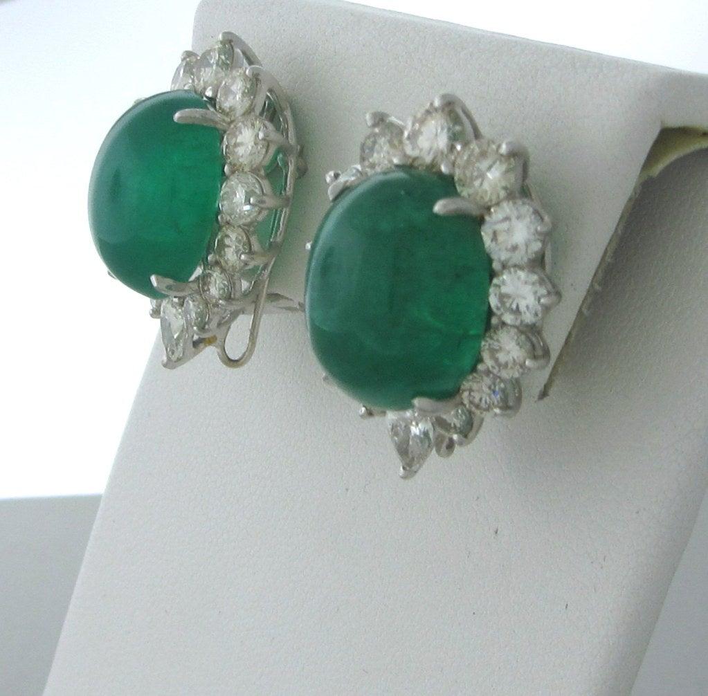Impressive 25ct Emerald Cabochon Diamond Earrings image 2