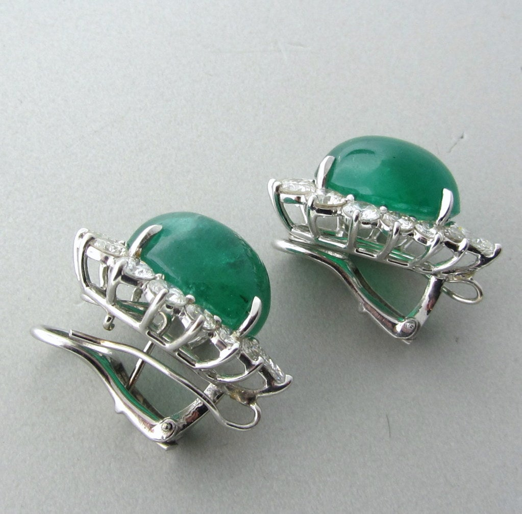 Impressive 25ct Emerald Cabochon Diamond Earrings image 3