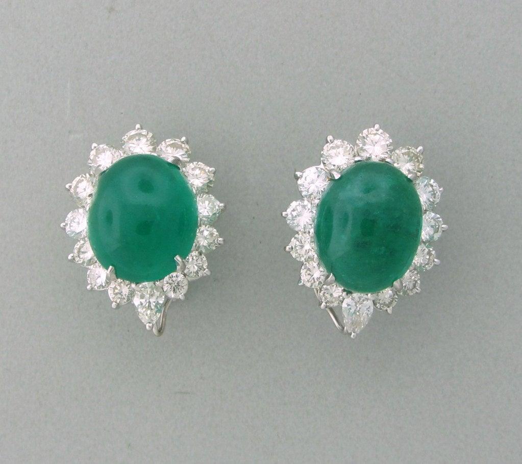 Impressive 25ct Emerald Cabochon Diamond Earrings image 4