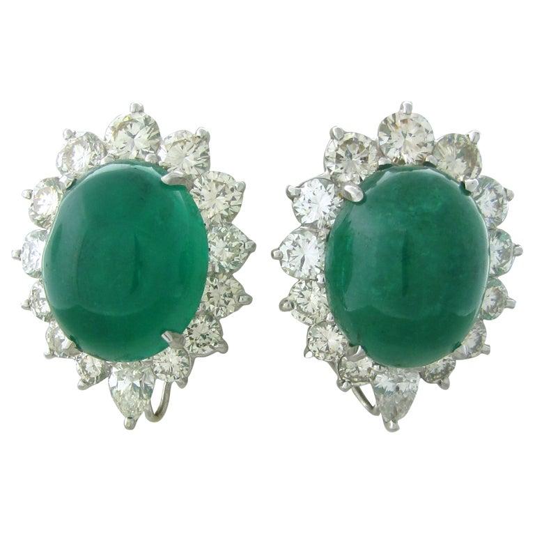 Impressive 25ct Emerald Cabochon Diamond Earrings