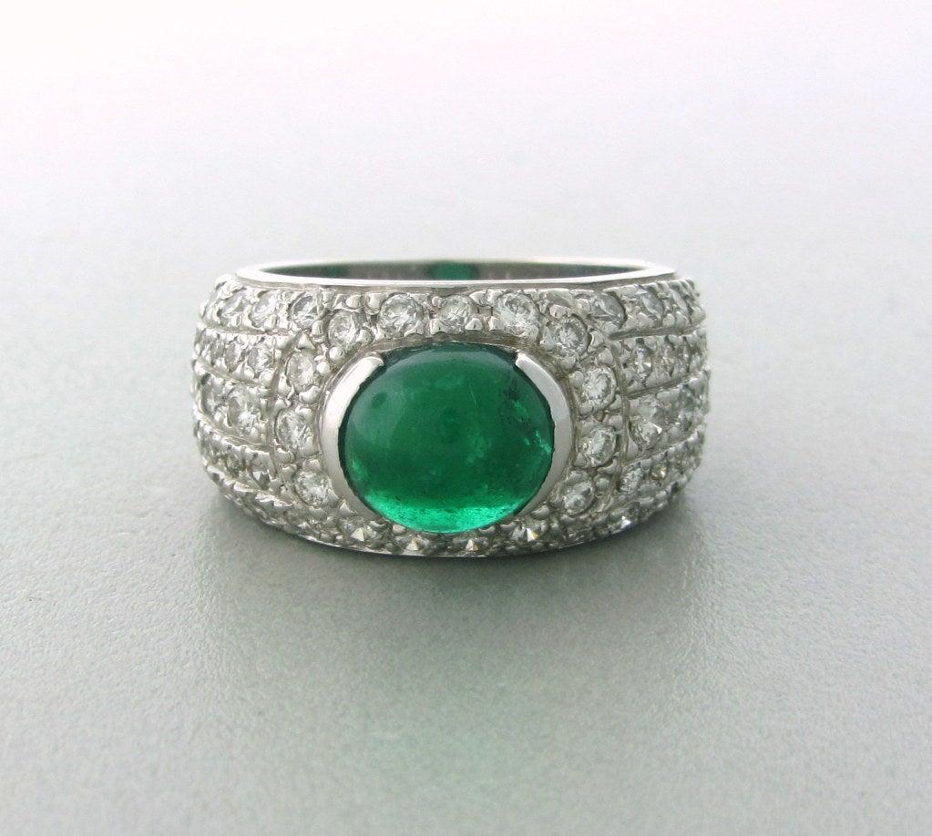 impressive gold emerald cabochon ring at 1stdibs
