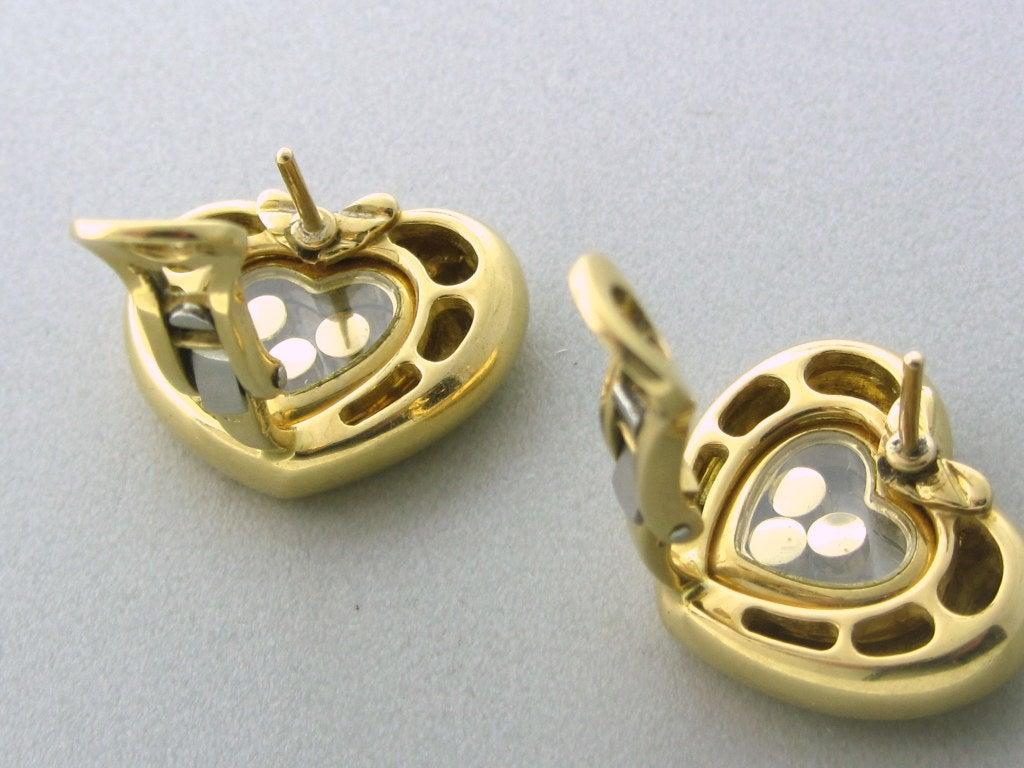 Diamond heart earrings - Chopard Happy Diamonds Gold Diamond Heart Earrings 2