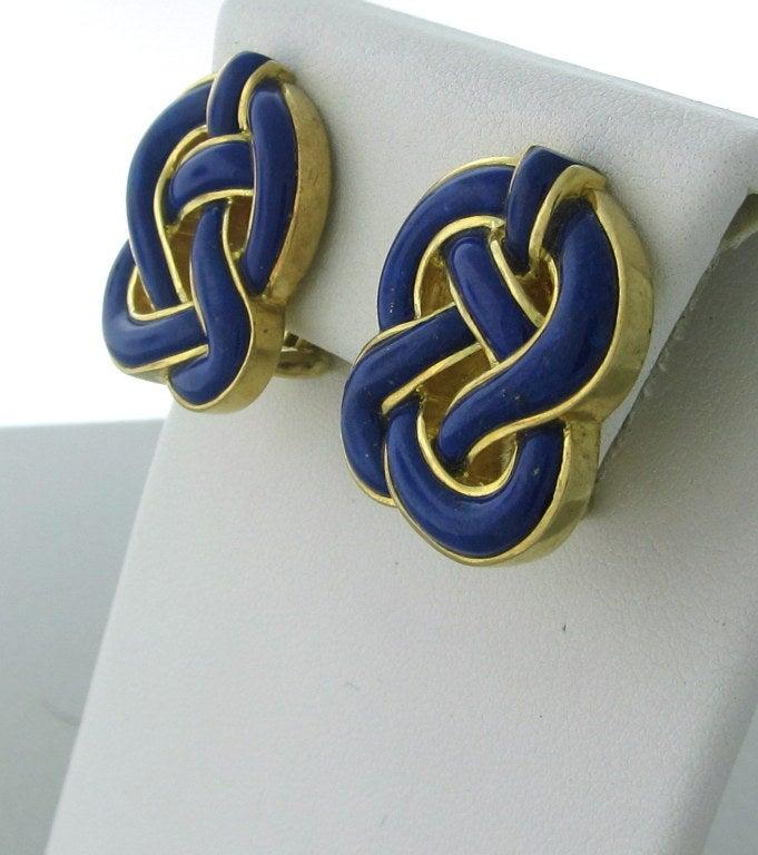 TIFFANY & CO Gold  Lapis Lazuli Earrings 2