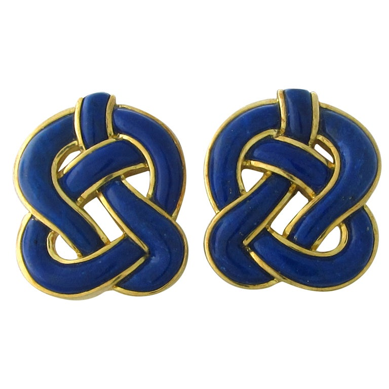 TIFFANY & CO Gold  Lapis Lazuli Earrings 1