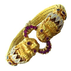 LALAOUNIS Gold Diamond Ruby Sapphire Chimera Bracelet
