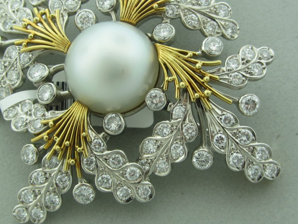 ELIZABETH GAGE  Diamond Pearl Gold Brooch Pin 2