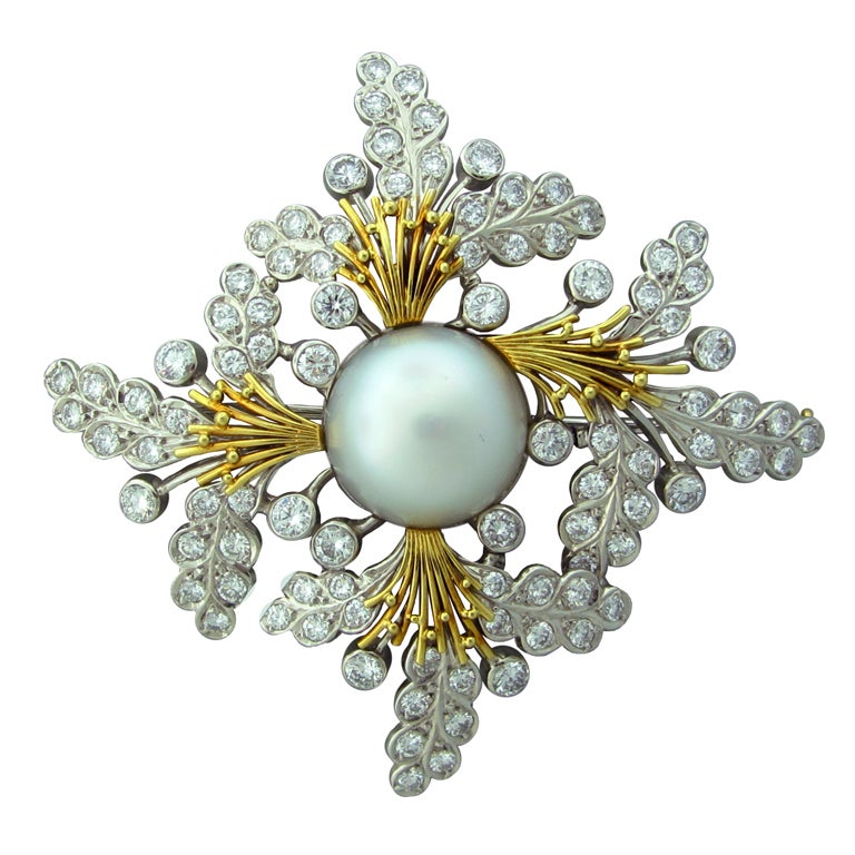 ELIZABETH GAGE  Diamond Pearl Gold Brooch Pin 1
