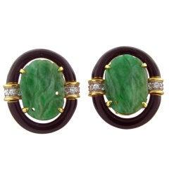 DAVID WEBB Carved Jade Gold Diamond Platinum Earrings