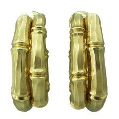 CARTIER Gold Bamboo Large Hoop Earrings
