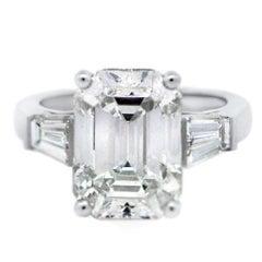 CARTIER 7.20ct Emerald Cut Diamond Platinum Engagement Ring