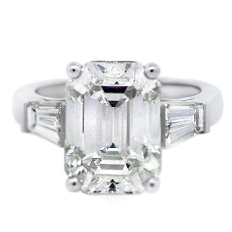 CARTIER 7 20ct Emerald Cut Diamond Platinum Engagement Ring at 1stdibs