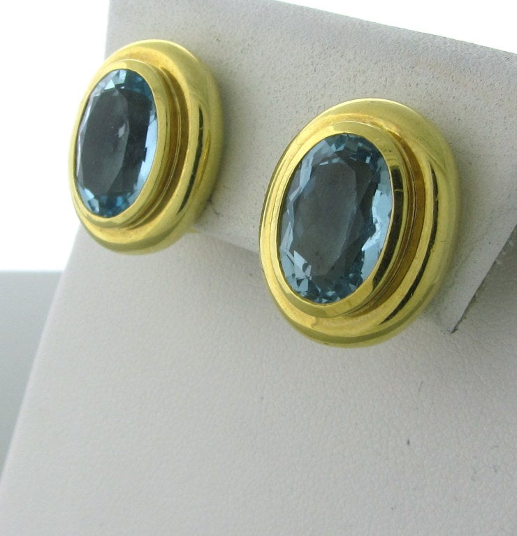 aadaf508d Tiffany & Co Paloma Picasso Aquamarine Earrings For Sale. METAL 18K YELLOW GOLD  AQUAMARINE - 13.1mm X 8.9mm EARRINGS ARE 20.3mm X