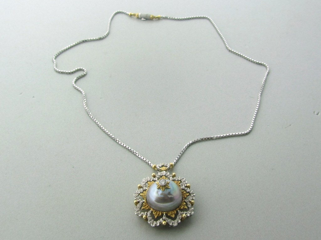 Buccellati Gold Diamond Pearl Pendant Necklace 3