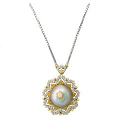 Buccellati Gold Diamond Pearl Pendant Necklace