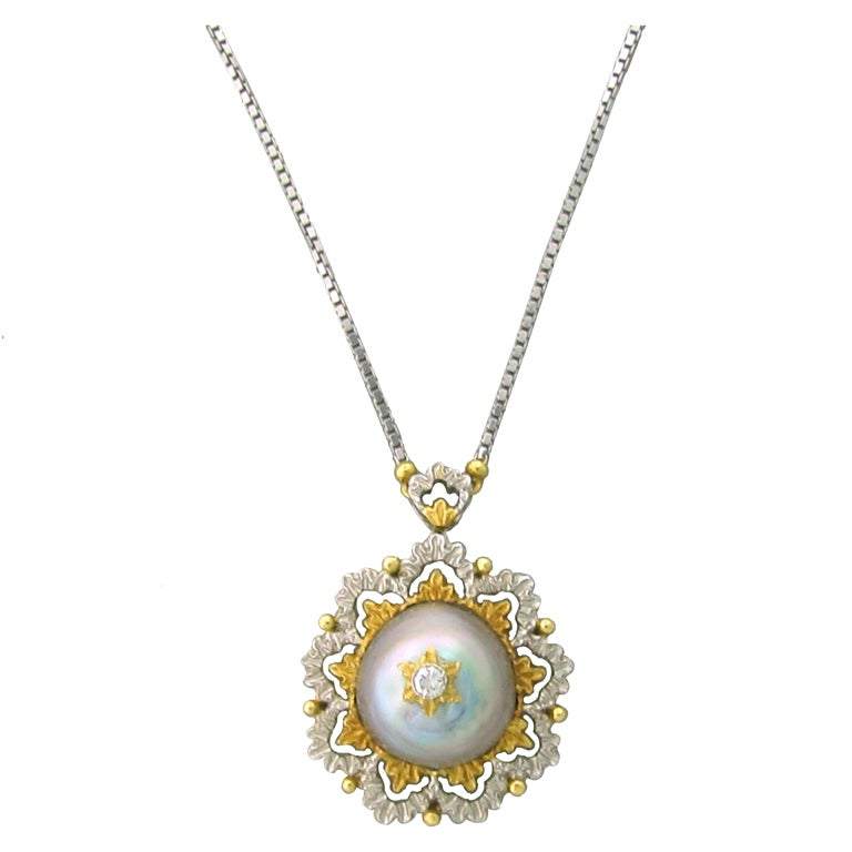 Buccellati Gold Diamond Pearl Pendant Necklace For Sale