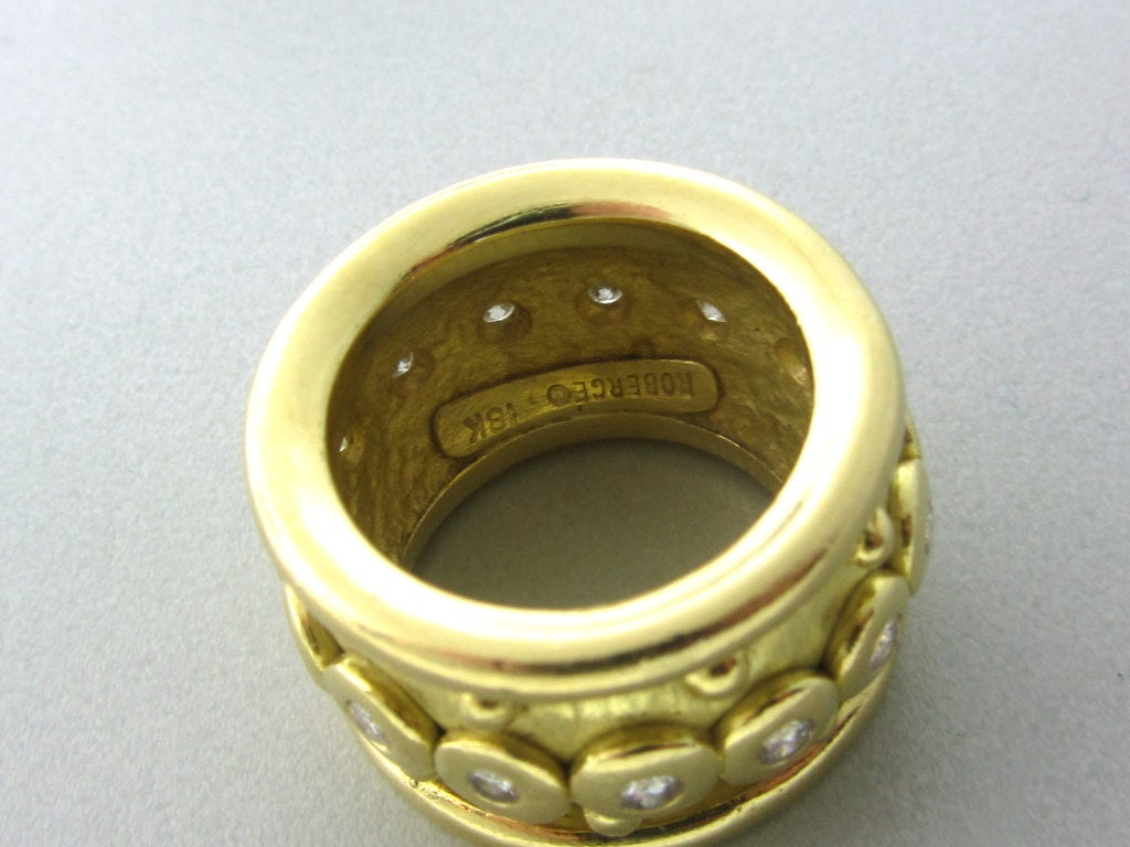 roberge gold wide band ring at 1stdibs
