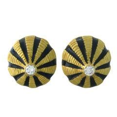 Tiffany & Co Schlumberger Large Enamel Gold Diamond Earrings