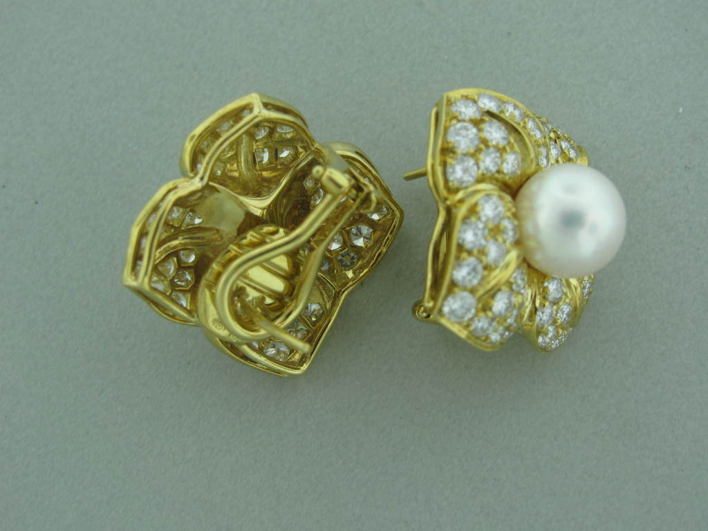 mikimoto pearl gold earrings at 1stdibs
