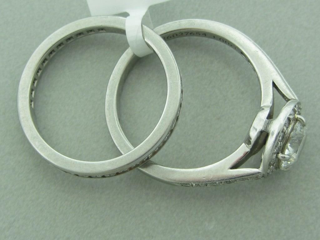 Women's Tiffany & Co Platinum 1.00ct G VVS1 Diamond Engagement Ring Set For Sale