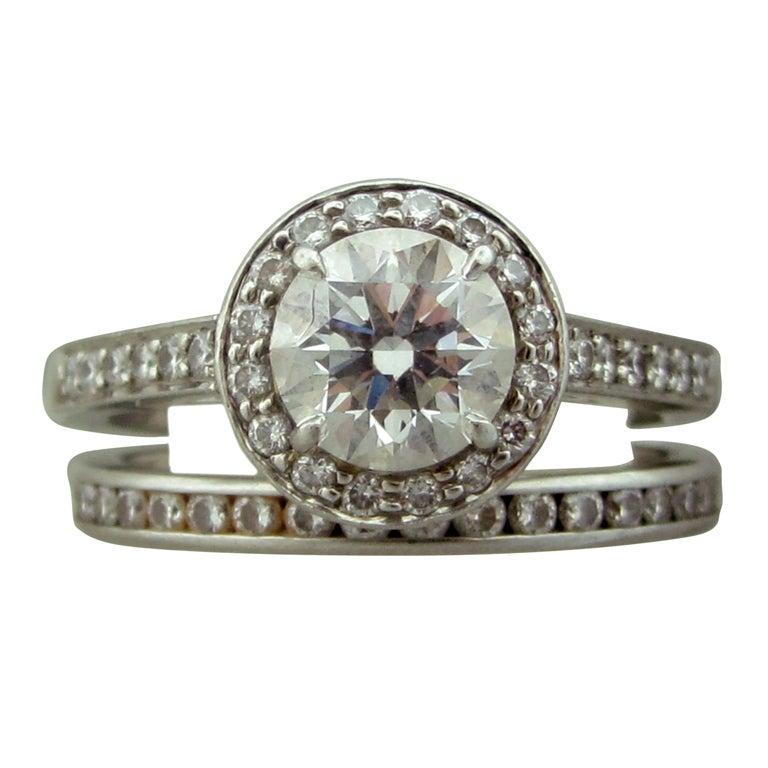 Tiffany & Co Platinum 1.00ct G VVS1 Diamond Engagement Ring Set For Sale