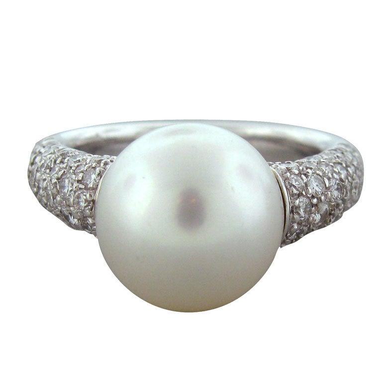 Mikimoto Pearl Earrings White Gold Mikimoto Pearl Diamond White