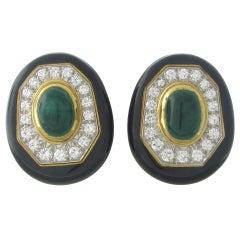 David Webb Platinum Gold Diamond Emerald Enamel Earrings