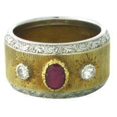 Buccellati Gold Ruby Diamond Wide Band Ring