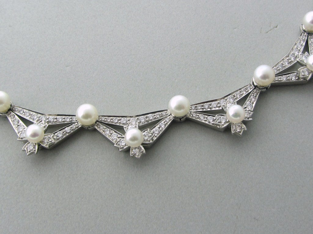 Tiffany & Co Diamond Platinum Pearl Necklace In Excellent Condition For Sale In Lahaska, PA